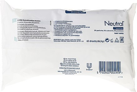 Детски мокри кърпички - Neutral Baby Wet Wipes — снимка N2