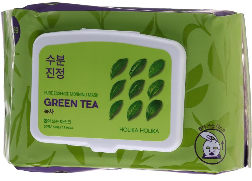 Сутрешни маски за лице от плат със зелен чай - Holika Holika Pure Essence Morning Mask Green Tea