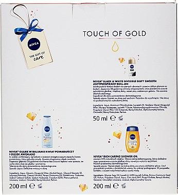 Комплект за тяло - Nivea Touch of Gold (душ масло/200ml + балсам/200ml + део/50ml) — снимка N2