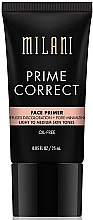 Парфюмерия и Козметика Коригираща основа за лице - Milani Prime Correct Diffuses Discoloration + Pore-minimizing Face Primer Light/Medium