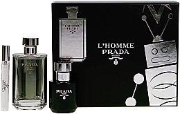 Парфюми, Парфюмерия, козметика Prada L'Homme Prada - Комплект (edt/100ml + s/g/100ml + edt/mini/10ml)