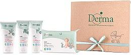 Парфюми, Парфюмерия, козметика Комплект за деца - Derma Eco Baby (крем/100ml+крем/100ml+шампоан/150ml+мокри кърпички/64)