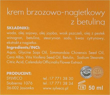 Дневен крем за лице с бреза и невен - Sylveco Birch And Marigold Day Cream With Betulin — снимка N3