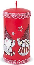 Парфюмерия и Козметика Декоративна свещ, червена, 7х14см - Artman Dwarves