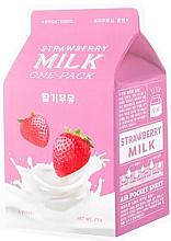 """Парфюмерия и Козметика Изсветляваща маска за лице """"Ягодово мляко"""" - A'Pieu Milk One-Pack Brightening Strawberry"""