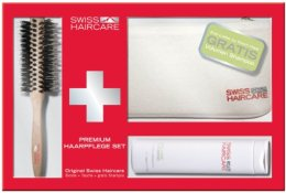 Парфюмерия и Козметика Комплект - Swiss Haircare Premium Haaprflege W3ks Set I (sh/200ml + brush + bag)