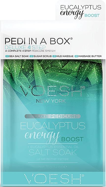 "Педикюрен комплект ""Евкалипт"" - Voesh Pedi In A Box Deluxe 4 Step Pedicure Eucalyptus Energy Boost + Eucalyptus Essential Oil — снимка N1"