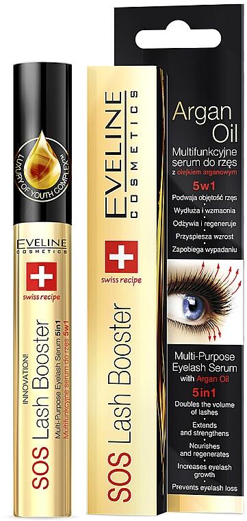 Комплексен серум за мигли с масло от арган 5в1 - Eveline Cosmetics Sos Lash Booster