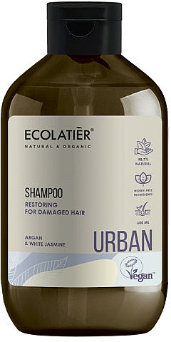Възстановяващ шампоан за увредена коса с арган и бял жасмин - Ecolatier Urban Restoring Shampoo