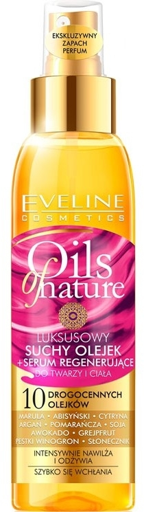 Сухо масло + подмладяващ серум за лице и тяло - Eveline Cosmetics Oils of Nature Luxurious Dry Oil Rejuvenating Serum
