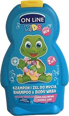 "Шампоан-душ гел за деца ""Дъвка"" - On Line Kids Bubble Gum Shampoo & Body Wash — снимка N1"