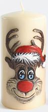 "Парфюмерия и Козметика Декоративна свещ ""Рудолф"", кремава, 7х18см - Artman Christmas Candle Rudolf"