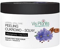 Парфюми, Парфюмерия, козметика Захарно-солеви скраб за тяло с ленено и арганово масло - Vis Plantis Herbal Vital Care Sugar & Salt Body Scrub