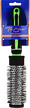 """Парфюми, Парфюмерия, козметика Четка за коса """"Neon"""" кръгла 37мм, 63718, черна с зелена - Top Choice"""