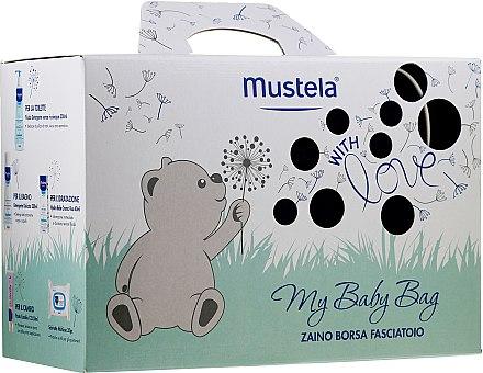 Комплект за деца - Mustela My Baby Bag Set (почист. вода/300ml +гел-шамп./200ml + крем за лице/40ml + крем за тяло/50ml + мокр. кърпички/25бр + чанта)
