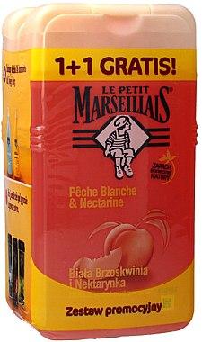 """Комплект душ гелове """"Бяла праскова"""" - Le Petit Marseillais (sh/gel/250ml + sh/gel/250ml) — снимка N1"""