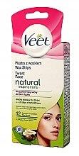 Парфюми, Парфюмерия, козметика Депилиращи восъчни ленти за лице с масло от шеа - Veet Natural Inspirations Wax Strips