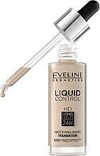 Течен фон дьо тен - Eveline Cosmetics Liquid Control HD Mattifying Drops Foundation (тестер) — снимка N2