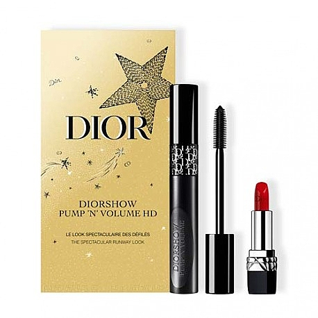 Комплект за грим - Dior Diorshow Pump 'N' Volume HD Gift Set (спирала/6ml+червило/1.5g)