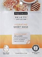Парфюмерия и Козметика Маска за лице от плат - Freeman Beauty Infusion Hydrating Cream Mask Manuka Honey + Collagen
