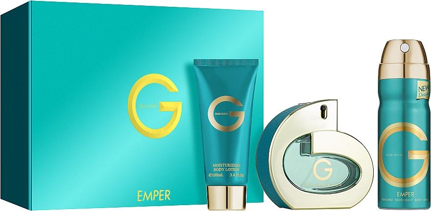 Emper G Pour Femme - Комплект (парф. вода/100ml + дезод./200ml + лосион/100ml)