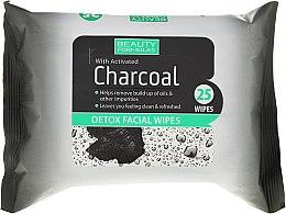 Парфюмерия и Козметика Почистващи кърпи за лице с активен въглен - Beauty Formulas Charcoal Detox Facical Wipes