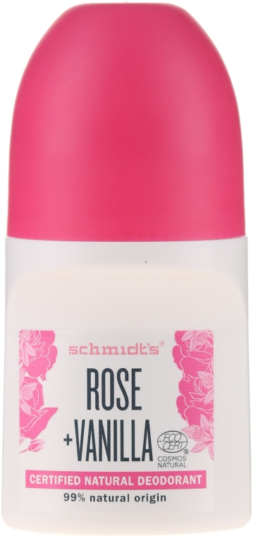 "Рол-он дезодорант ""Роза и ванилия"" - Schmidt's Rose + Vanille Deo Roll-On — снимка N1"