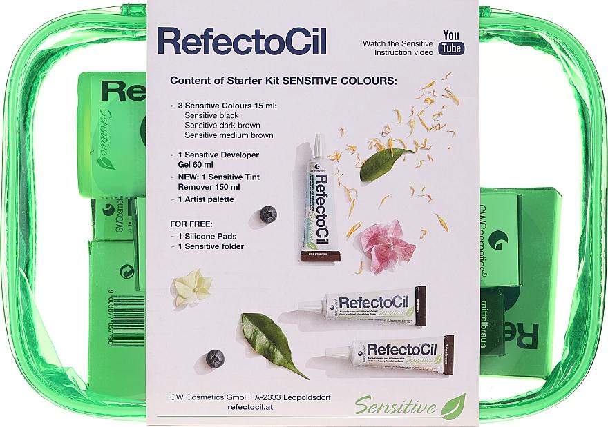 Комплект за боядисване на вежди и мигли - RefectoCil Lash & Brow Starter Sensitive Kit (dye/3x15ml + developer/gel/60ml + tint/remover/150ml + artist/palette + pads + folder) — снимка N2