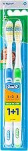 Парфюми, Парфюмерия, козметика Комплект четки за зъби, Medium (синя+зелена) - Oral-B 1 2 3 Maxi Clean 40 Medium 1+1