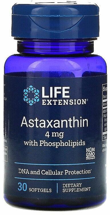 """Хранителна добавка """"Астаксантин с фосфолипиди"""", гел капсули - Life Extension Astaxanthin With Phospholipids, 4 mg — снимка N1"""
