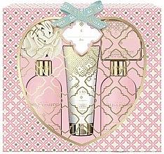 """Парфюми, Парфюмерия, козметика Комплект """"Просеко розе и бъз"""" - Baylis & Harding Pink Prosecco & Elderflower Set (душ гел/300ml + лосион за тяло/300ml + сапун/150g + душ крем/130ml + гъба за баня/1)"""