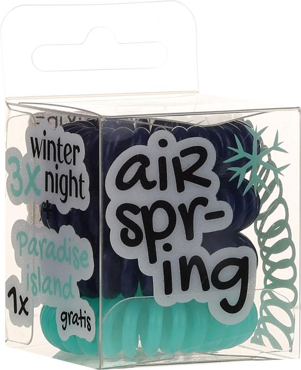Ластици за коса тъмносини+тюркоаз, 4 бр. - Hair Springs