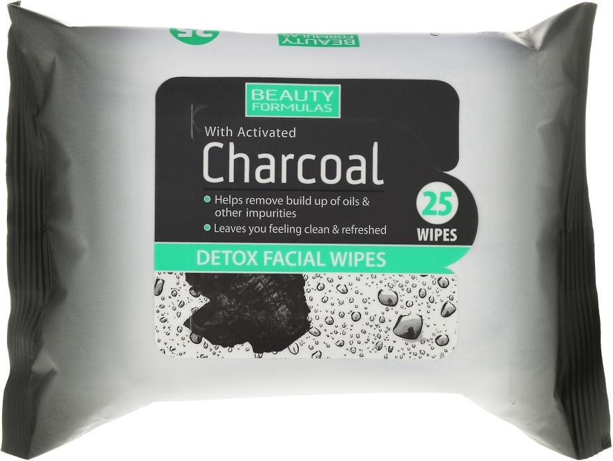 Почистващи кърпи за лице с активен въглен - Beauty Formulas Charcoal Detox Facical Wipes