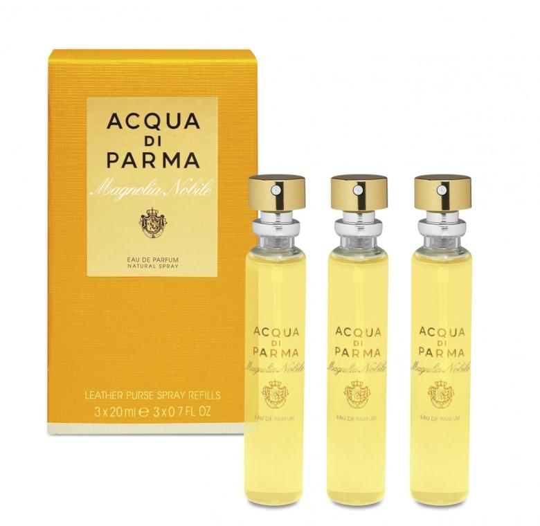 Комплект - Acqua Di Parma Magnolia Nobile Leather Purse Spray ( edp/20ml + edp/20ml+edp/20ml) — снимка N1