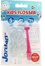 Парфюмерия и Козметика Комплект конци за зъби с държач - Jordan Kids Flosser (държач/1 бр.+ резервни конци/36 бр.)