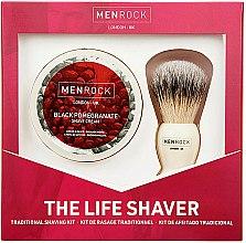 Парфюмерия и Козметика Комплект за бръснене - Men Rock The Life Shaver Black Pomegranate Kit (четка/1бр + крем/100ml)