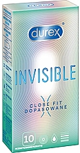 Парфюмерия и Козметика Презервативи, плътно прилягащи, 10 бр. - Durex Invisible Close Fit