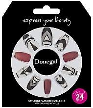 Парфюмерия и Козметика Комплект изкуствени нокти, червено с бяло - Donegal Express Your Beauty