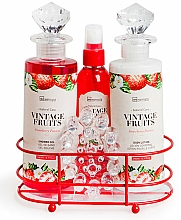Парфюмерия и Козметика Комплект за тяло - IDC Institute Vintage Fruits (душ гел/240ml+лосион/240ml+спрей/120ml+сапун/100g+масажор)