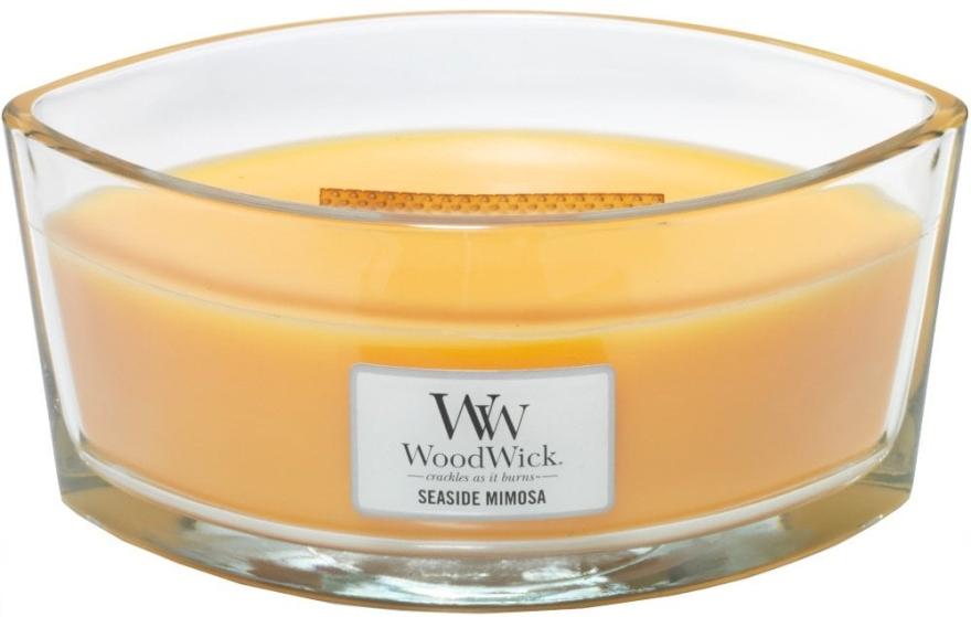 Ароматен восък в чаша - WoodWick Hearthwick Flame Ellipse Candle Seaside Mimosa — снимка N1