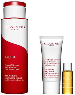 Комплект - Clarins Body Fit (b/scrub/30ml + cr/200ml + b/oil/10ml) — снимка N1