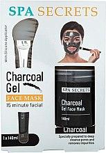 Парфюмерия и Козметика Комплект - Spa Secrets Charcoal Gel Face Mask (mask/140ml + brush/mask/1pcs)
