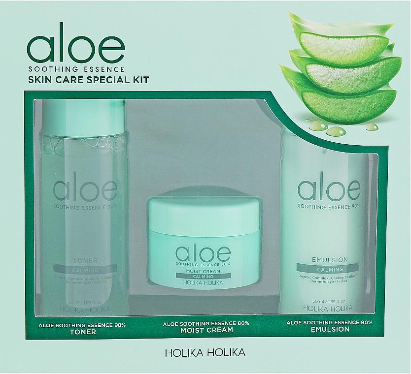 Комплект за лице - Holika Holika Aloe (тонер/50ml + емулсия/50ml + крем/20ml)