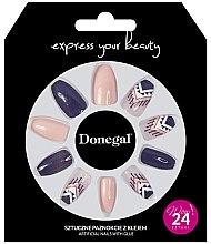 Парфюмерия и Козметика Комплект изкуствени нокти, лилаво с бежово - Donegal Express Your Beauty