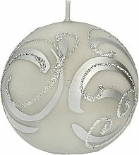 Парфюмерия и Козметика Декоративна свещ , топка , сива , 10 см - Artman Christmas Ornament