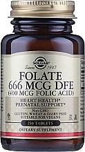 """Парфюмерия и Козметика Хранителна добавка """"Фолиева киселина"""" (400 mcg Folic Acid), таблетки - Solgar Health & Beauty Folate 666 MCG DFE"""