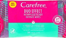 """Парфюмерия и Козметика Мокри кърпички за интимна хигиена """"Алое"""" - Carefree Duo Effect"""