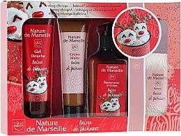 Парфюми, Парфюмерия, козметика Комплект - Nature de Marseille Marshmallow Kiss Bath Cosmetics Set (душ гел/100ml + крем за ръце/60ml + балсам за тяло/150ml + сапун/90g)