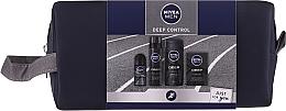 Парфюмерия и Козметика Комплект за мъже - Nivea Men Deep Control 2020 (душ гел/250ml + афтър. лосион/100ml + пяна за бръснене/200ml + део/50ml + козм. чанта)