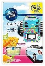 """Парфюми, Парфюмерия, козметика Комплект ароматизатори за кола """"Тропически плодове"""" - Ambi Pur (freshener/1szt+refill/7ml)"""